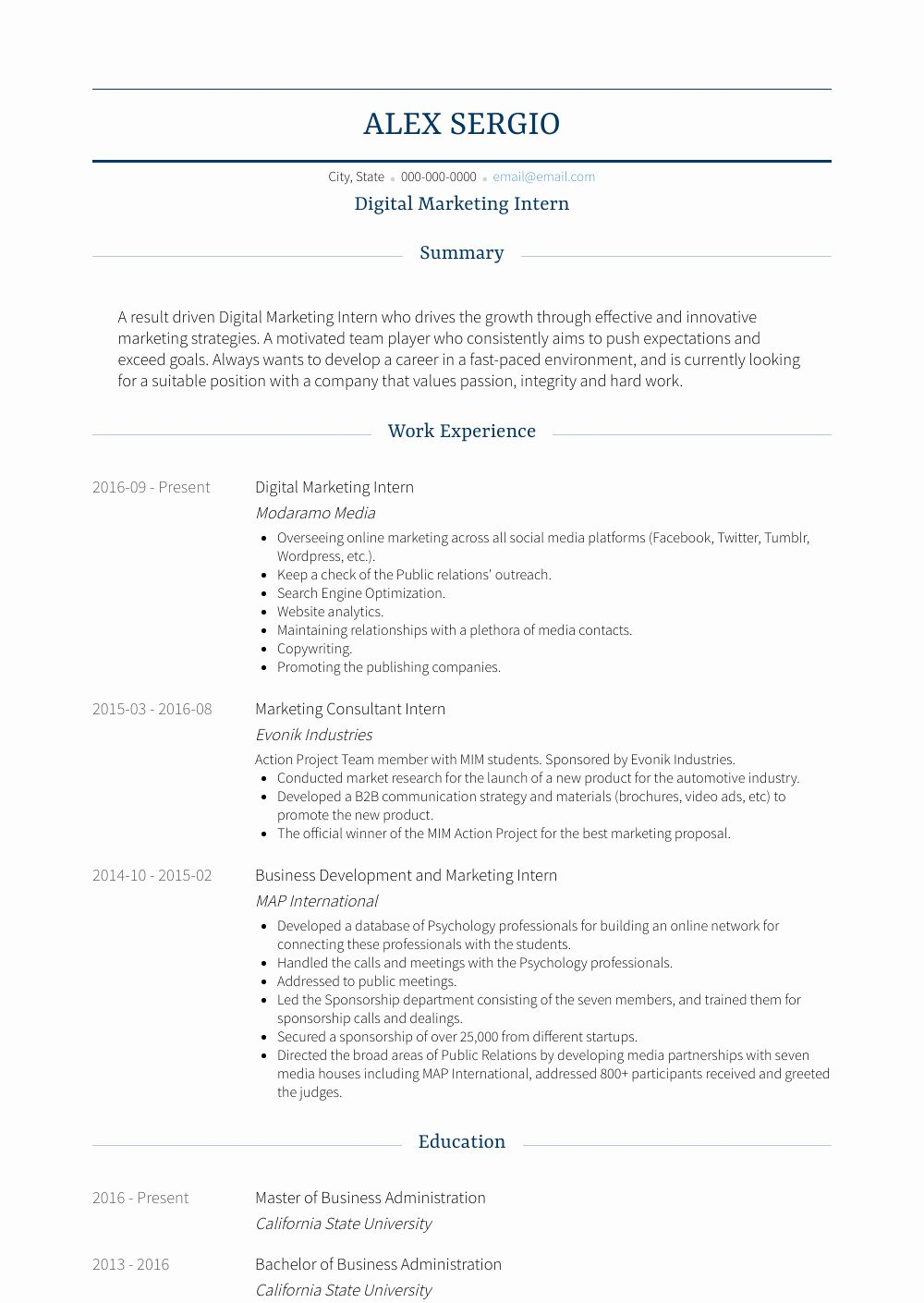 Digital Marketing Resume Sample Lovely Digital Marketing Intern Resume Samples Templates Marketing Resume Digital Marketing Digital Marketing Quotes