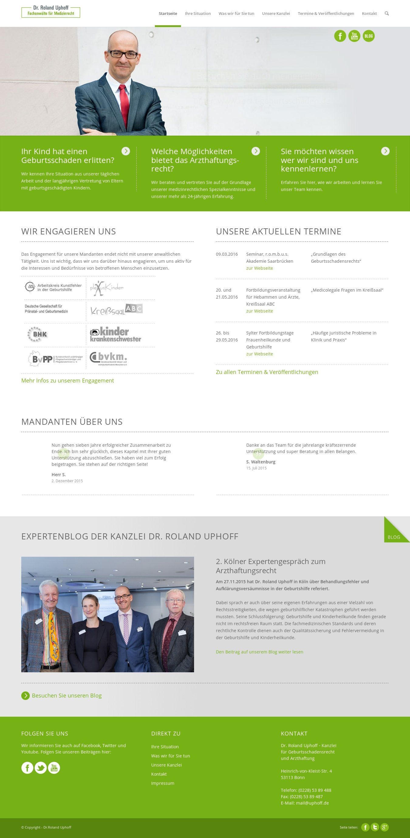 WordPress site schulterdystokie.de uses the Wordpress template ...