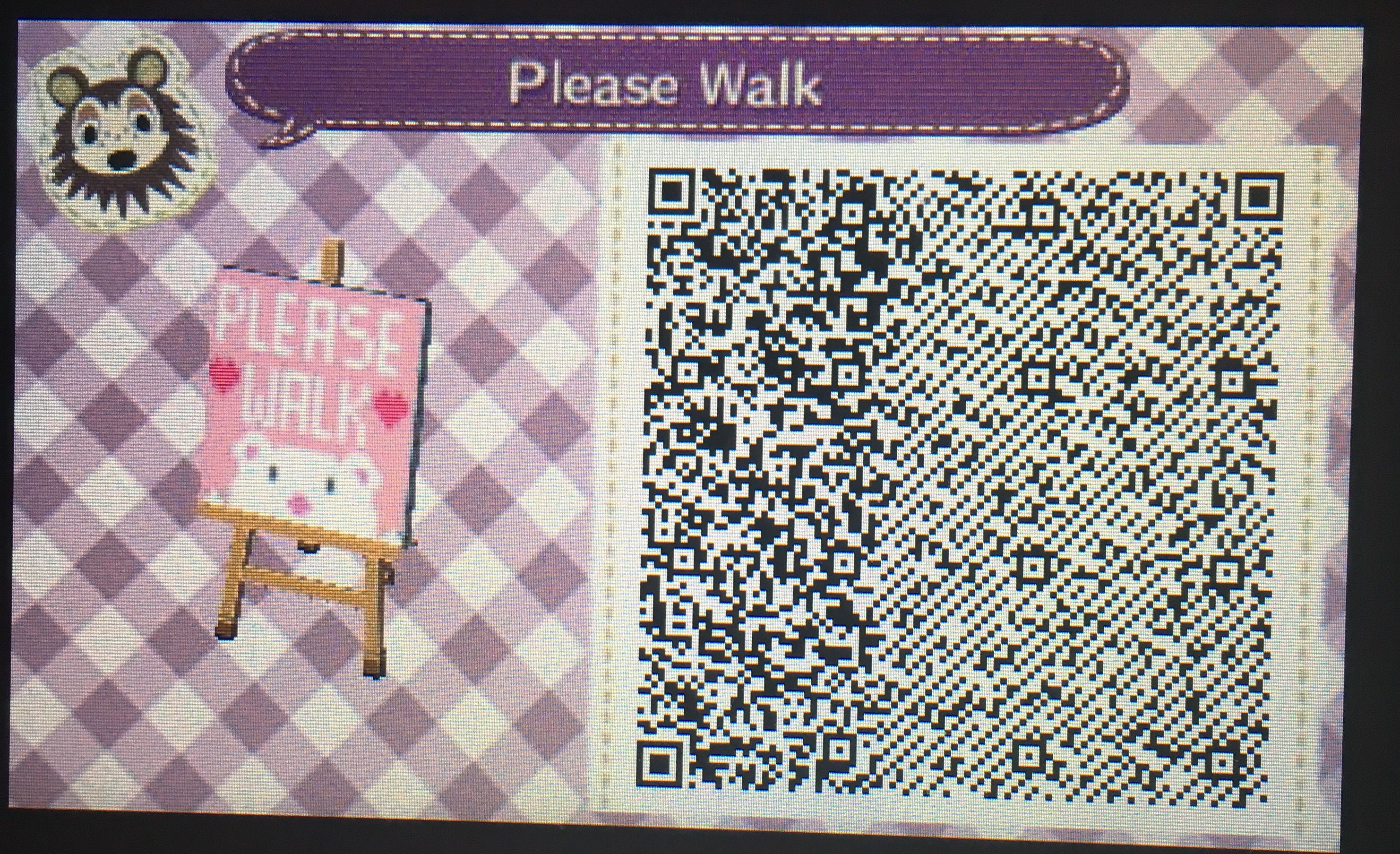 So cute please walk sign for acnl 💕💕💕 Animal crossing qr