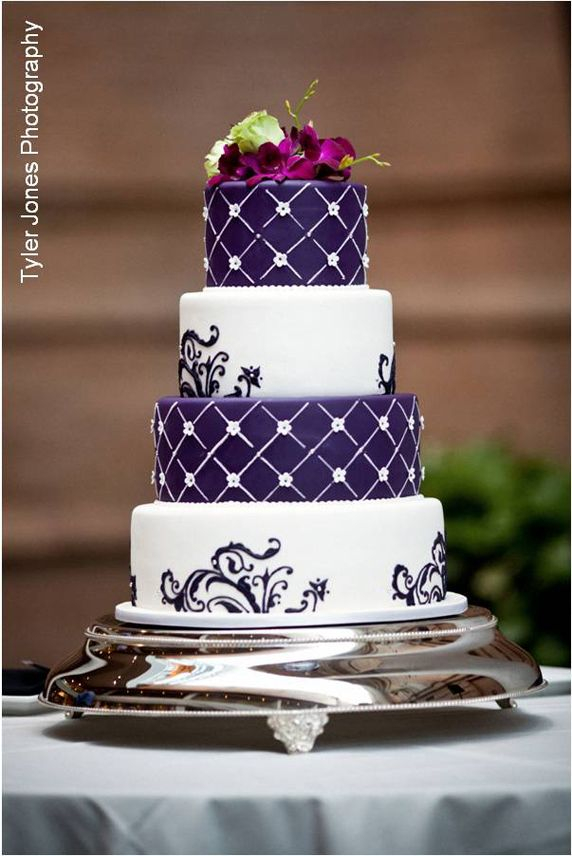 Pretty Purple & White Pattern Wedding Cake Visit http://www.brides-book.com for more great wedding resources
