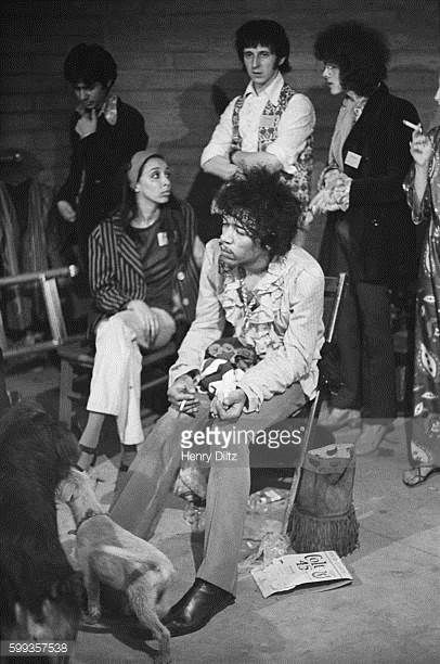Backstage at the Monterey Pop Festival where both the Jimi Hendrix Experience and The Who played Center are Jimi Hendrix and behind him John...