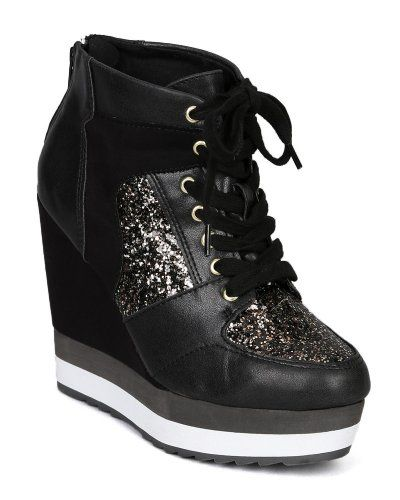 567526f4cd91 Black · Qupid Westwood-04 Metallic Glitter Lace up Wedge Sneaker - Black  Distress ...