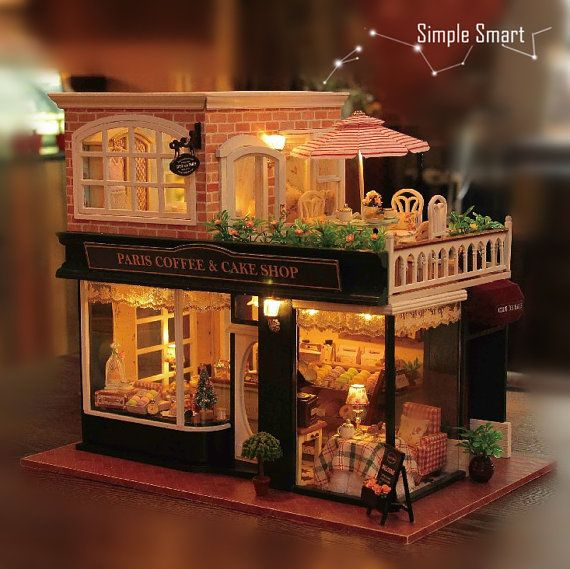 1:24 Miniature Dollhouse DIY Kit Paris Coffee and Cake Shop with LED Light Music Box Cute Room House Model French Coffee Journey Craft Gift