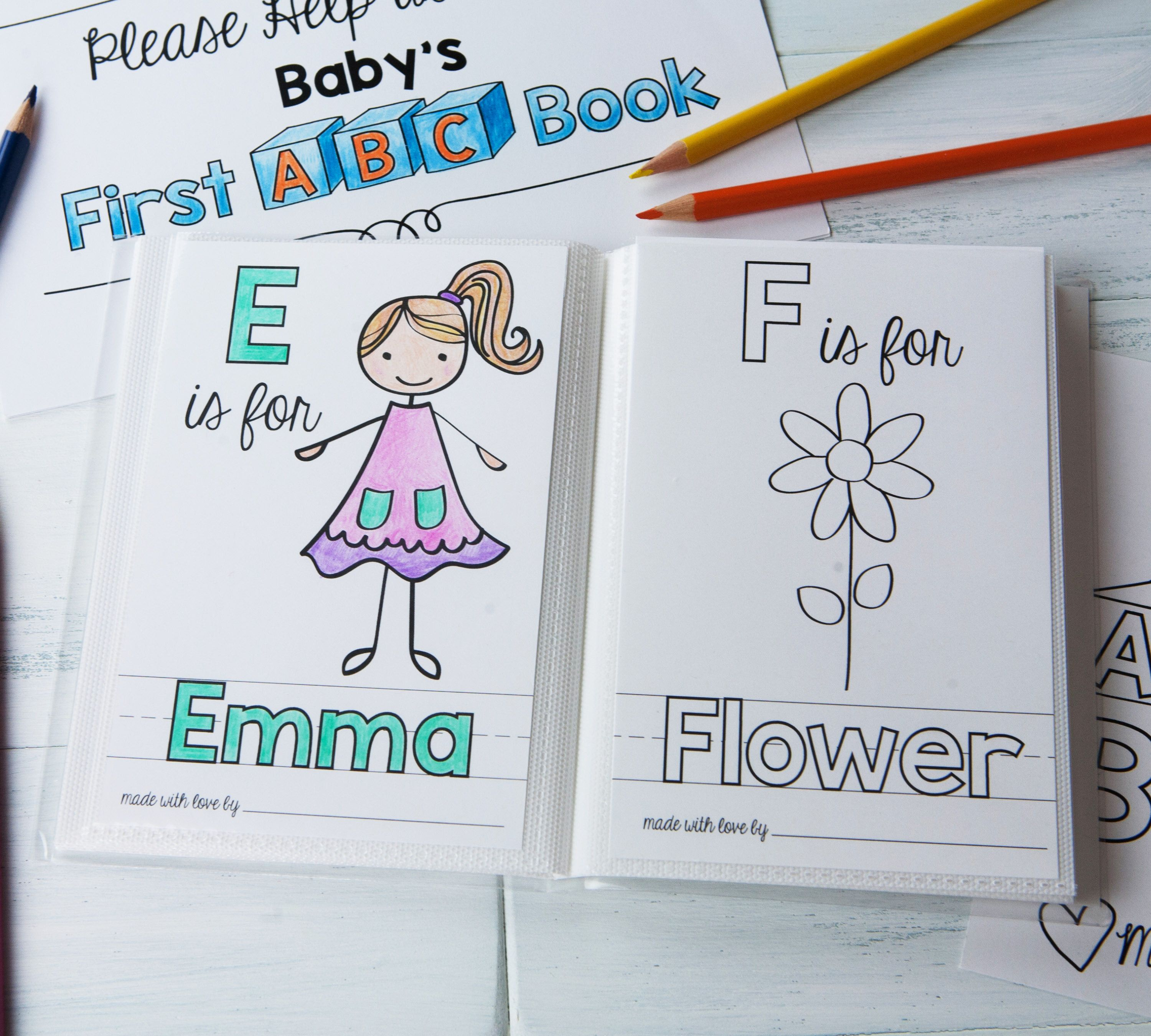 Personalized Abc Coloring Sheet Add On For Baby S First Abc Book Alfabe