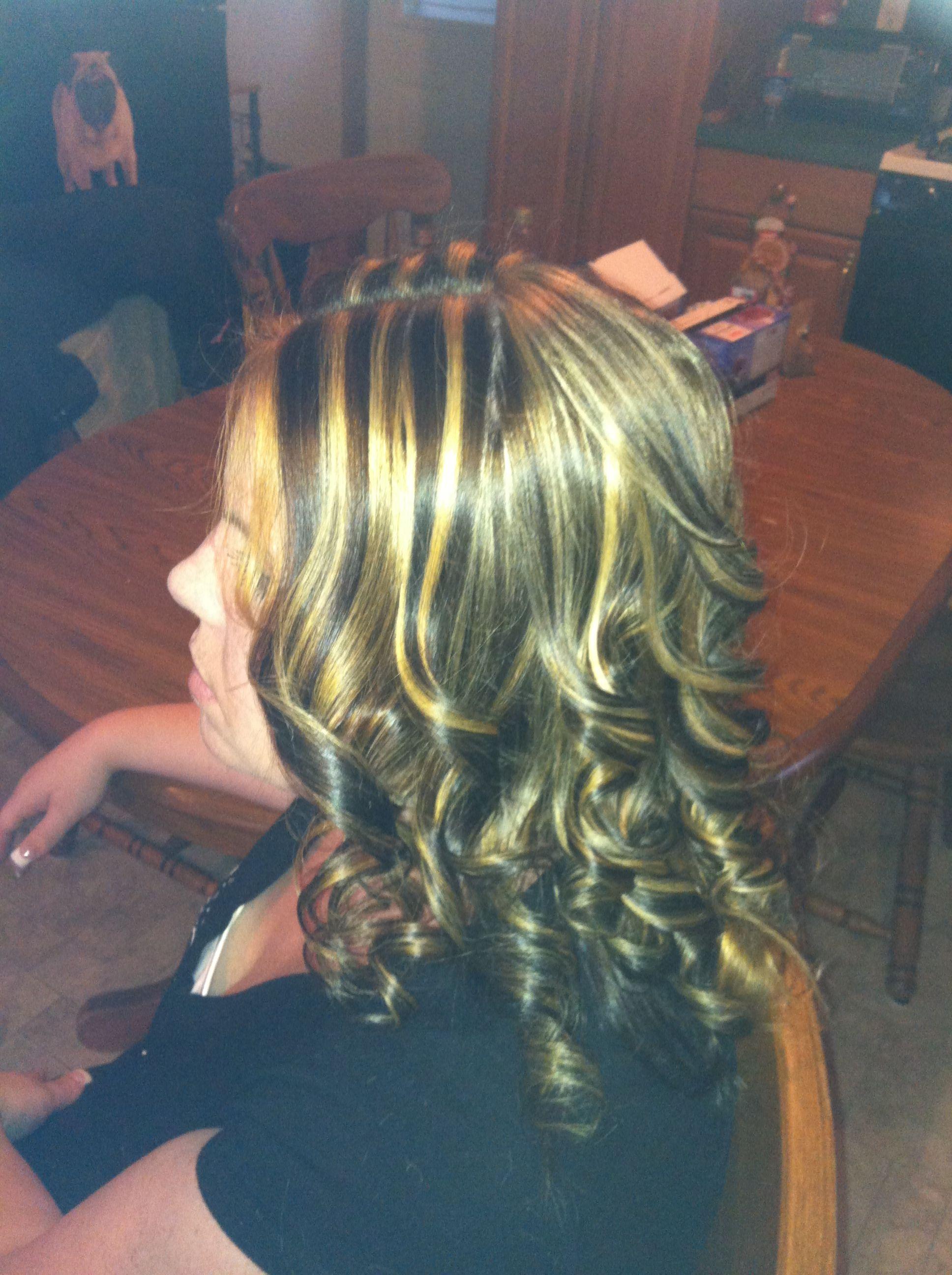 Highlights Using A Slicing Technique Hair Pinterest