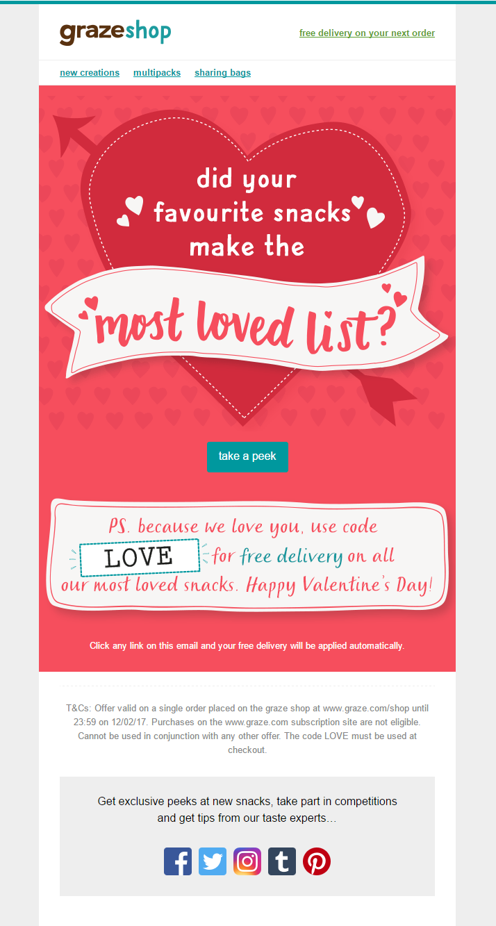 Valentine S Day Email From Graze With Coupon Code For Free Delivery Email Marke Email Marketing Examples Email Marketing Inspiration Email Marketing Template