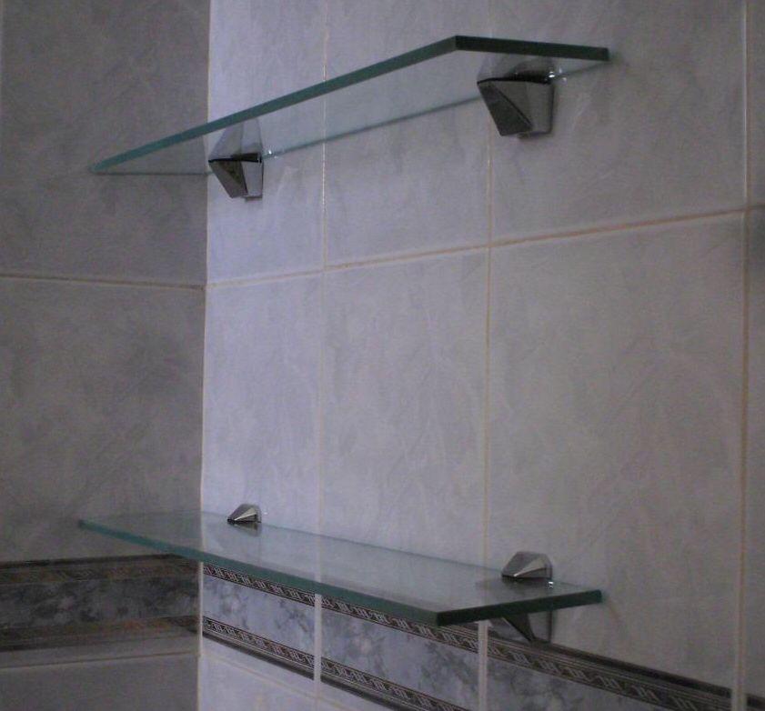 repisas sencillas y elegantes para bao con cristal mm claro y clips de acero