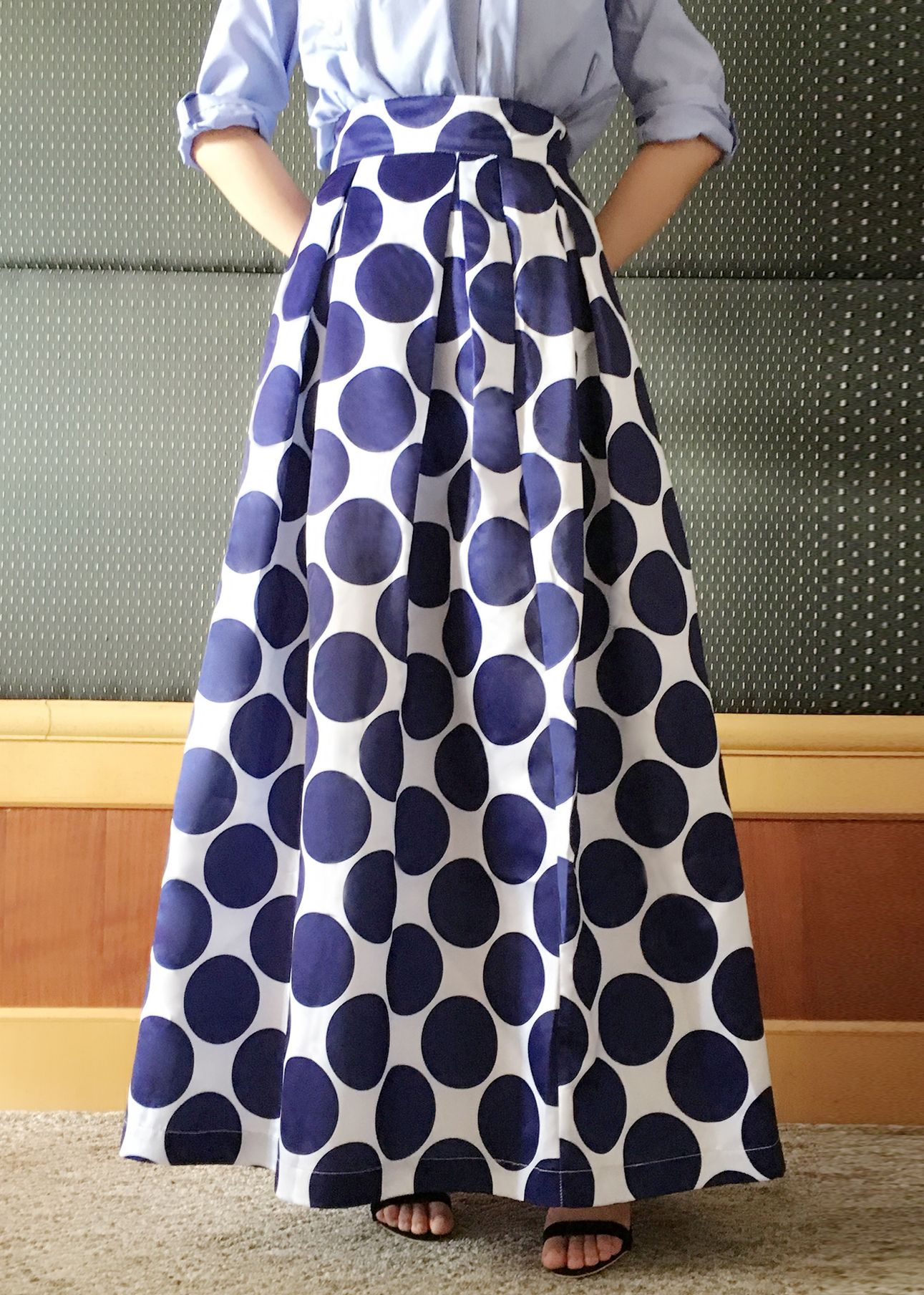 Color Block Polka Dot Print High Waist Skirt  Oasapcom
