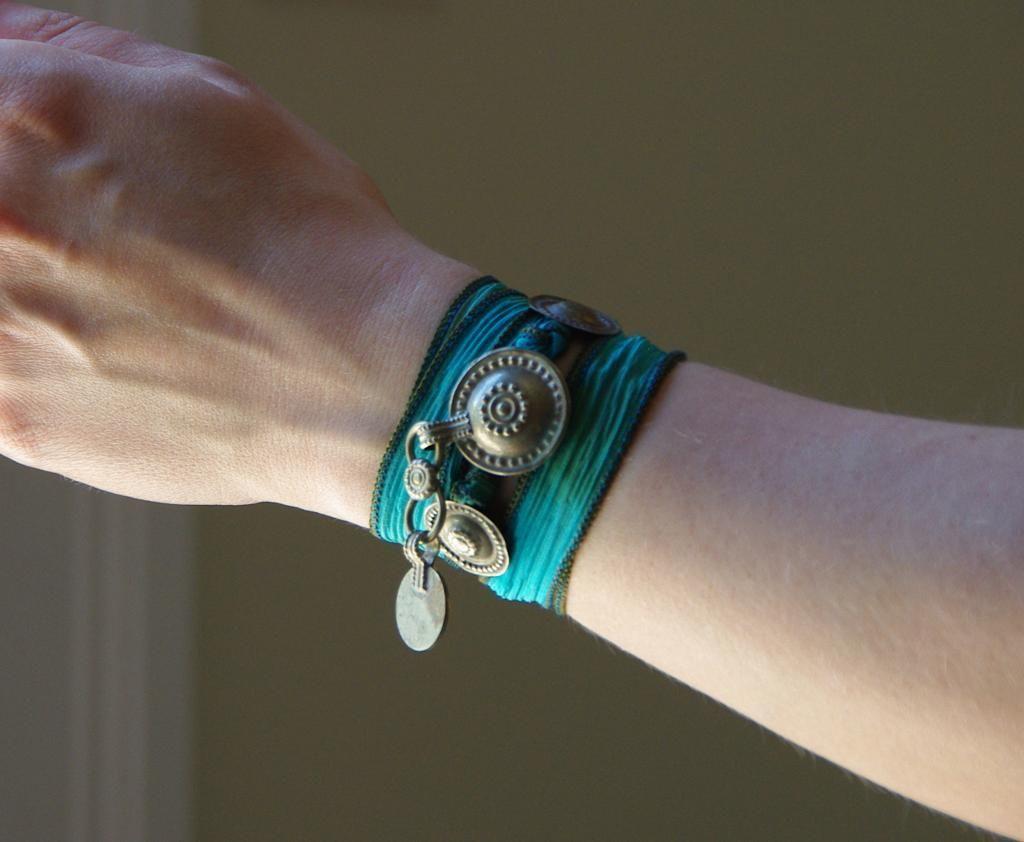 Turkoman Tribal Button Silk Wrap