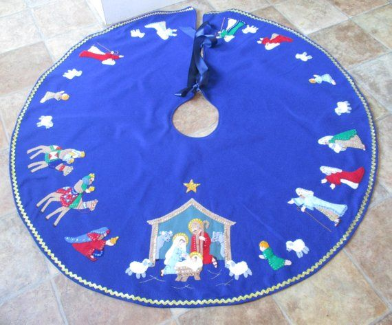 Nativity Felt Applique Tree Skirt with sequins and embroidery