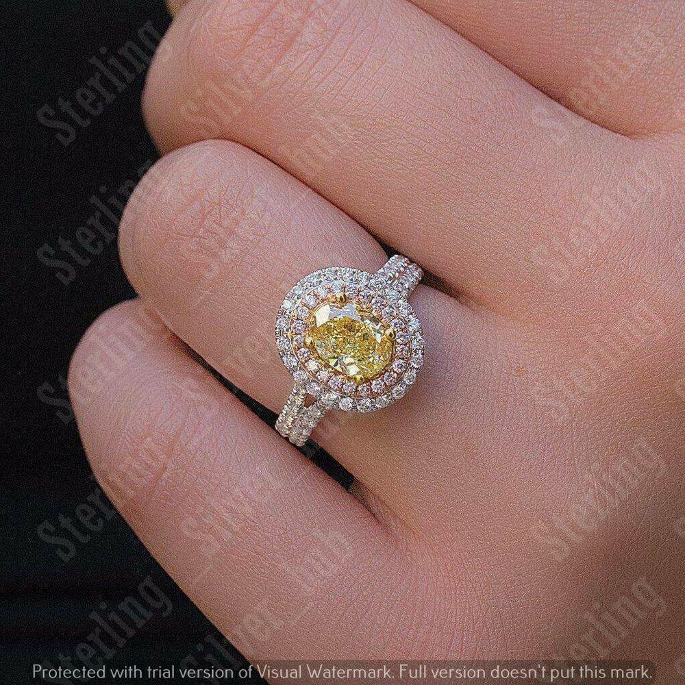 1.50 Ct Oval Cut Diamond Halo Engagement Wedding Ring 14k White Gold Finish
