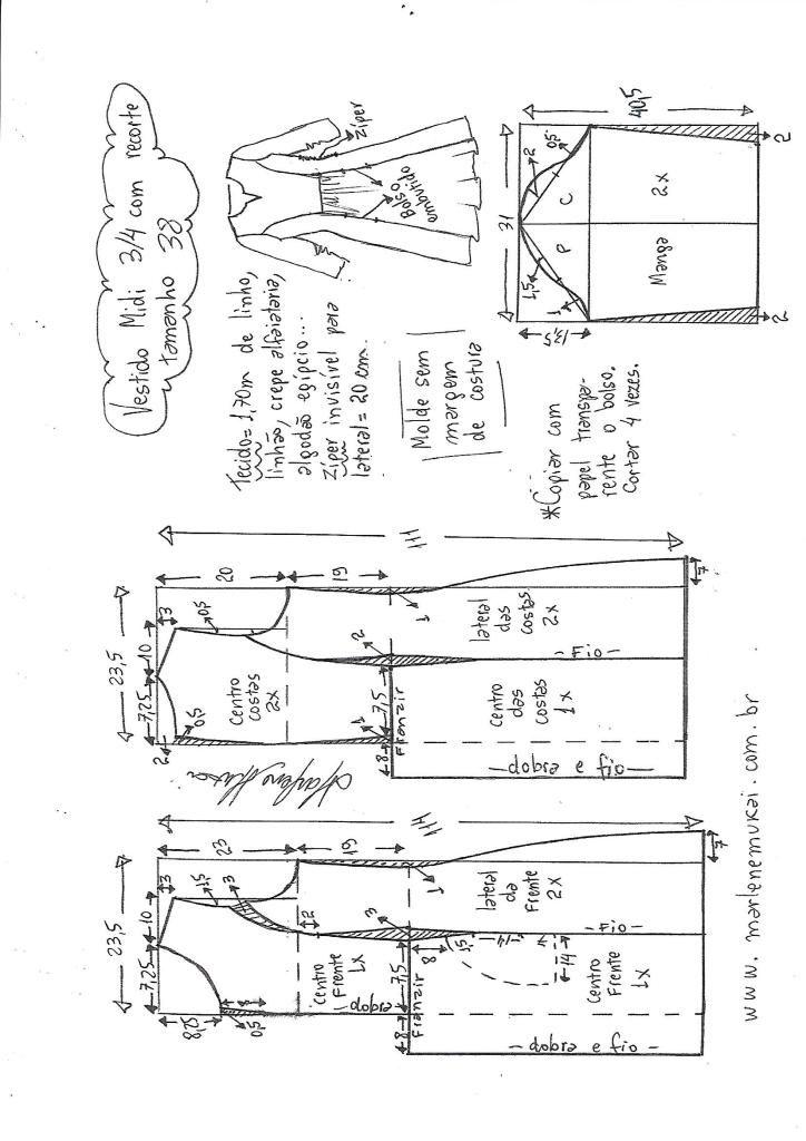 Vestido midi manga 3/4 com recorte vertical | COSTURAS Y COSTUREOS ...