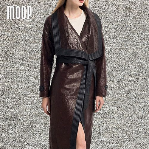 Luxury brown genuine leather coats oversized lapels cowskin pebbled-leather long trench coat abrigos mujer casaco feminino LT819