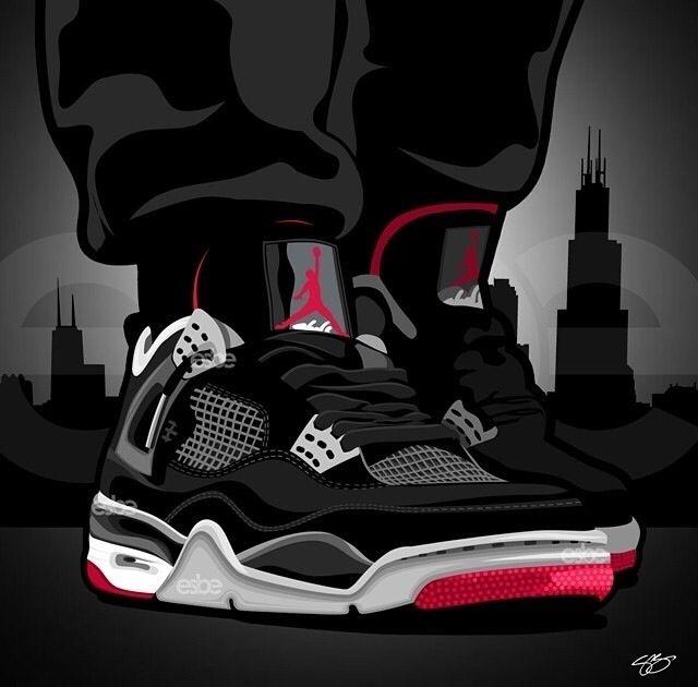 sale retailer ef227 988f1 Bred Air Jordan IV Art Zapatillas Jordan Retro, Tenis Masculino, Magicos, Zapatos  Blancos