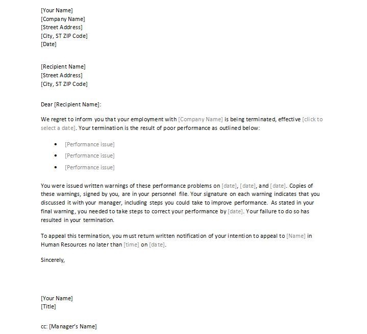 Employee Termination Letter Format Free Employment Templates Samples