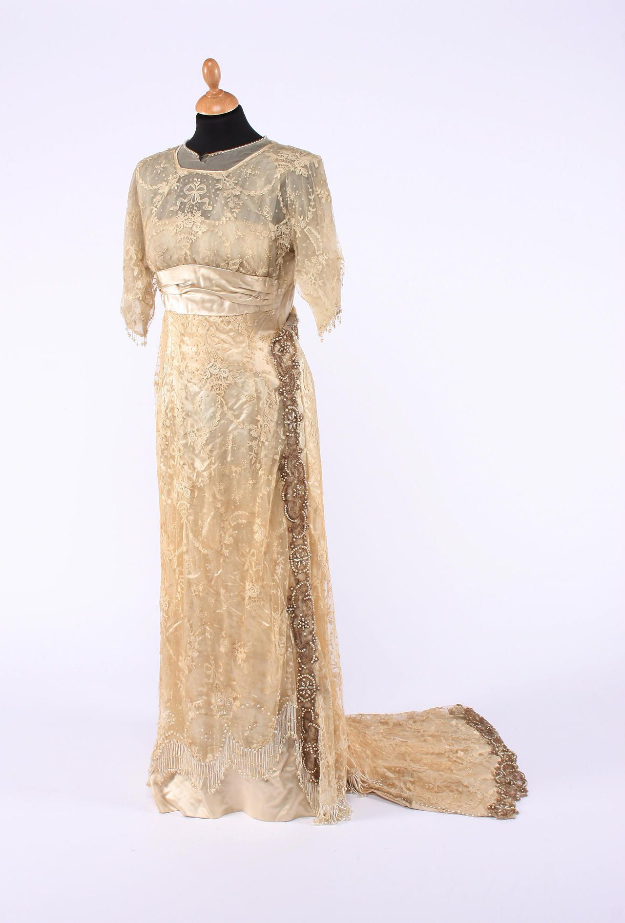 Tamboured lace and cream satin wedding dress 1910 high