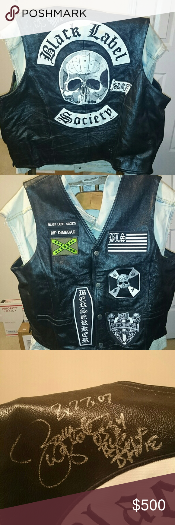 Zakk Wylde Autographed Black Label Society Vest Black Label Society Black Leather Vest