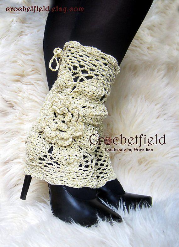 Beige Leg warmers boot cuffs lace boot socks by Crochetfield ...