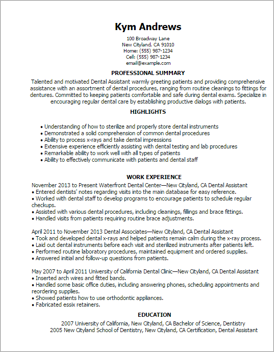 Resume Templates Dental Assistant Dental Assistant Job Description Dental Assistant Jobs Dental Assistant