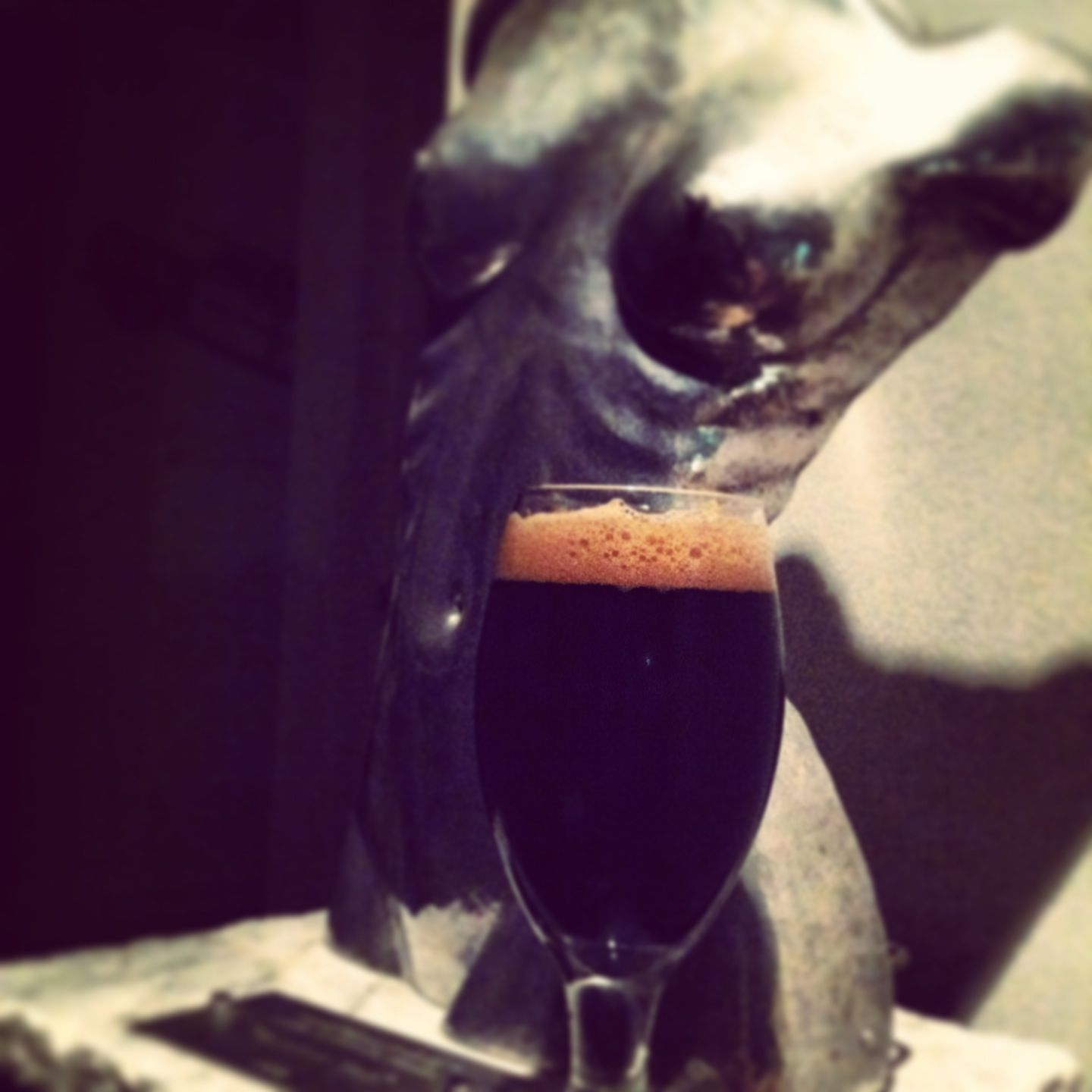 The beer and the bust. An imperial stout sits in honor of the hand hammered steel bust made by our friend artist Eddie Meeks.