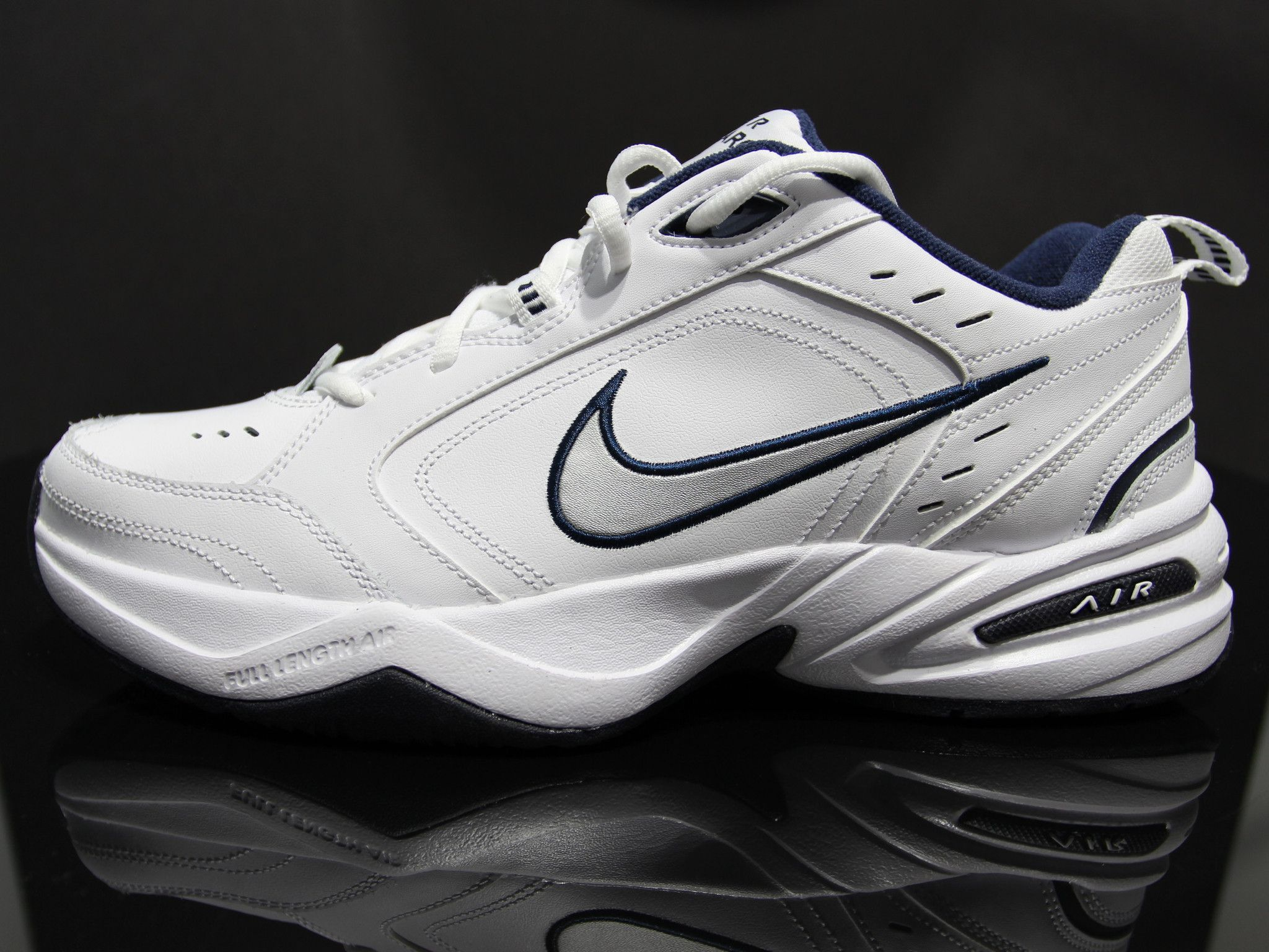 NIKE Air Monarch IV Classic Leather Sneakers Size 10 (White/Midnight Navy)  | shoes | Pinterest | Nike air monarch, Classic leather and Leather sneakers