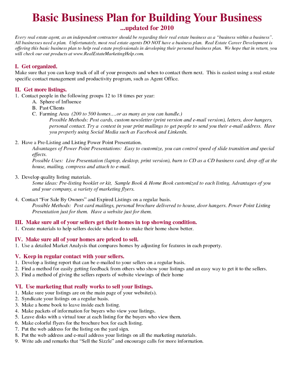 real estate business plan free template