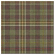 Fabric with a moss green and dark brown plaid pattern with gold, red, and cream highlights. A Plaidwerx original tartan design.