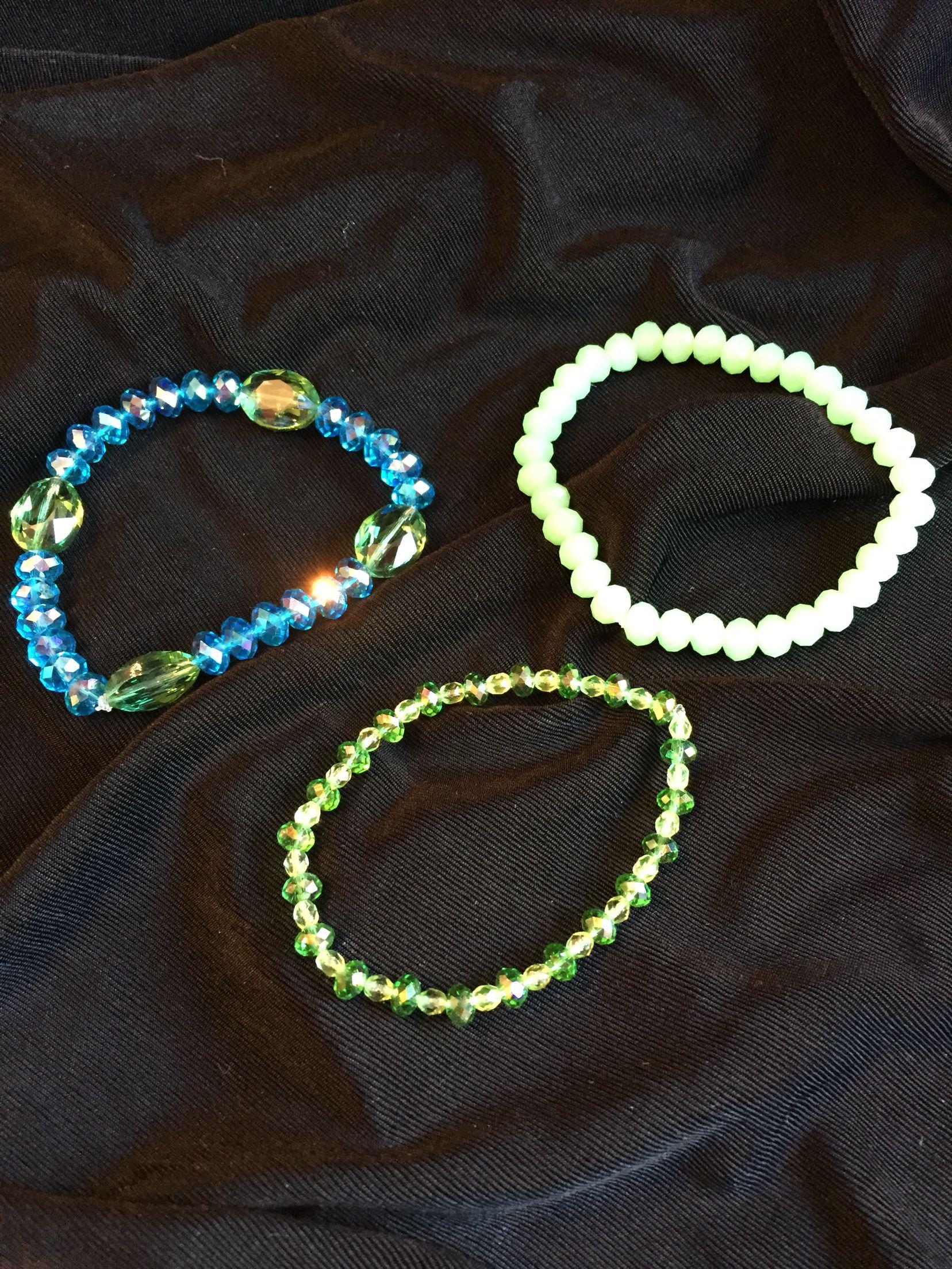 Lime green & Aqua crystal bracelets