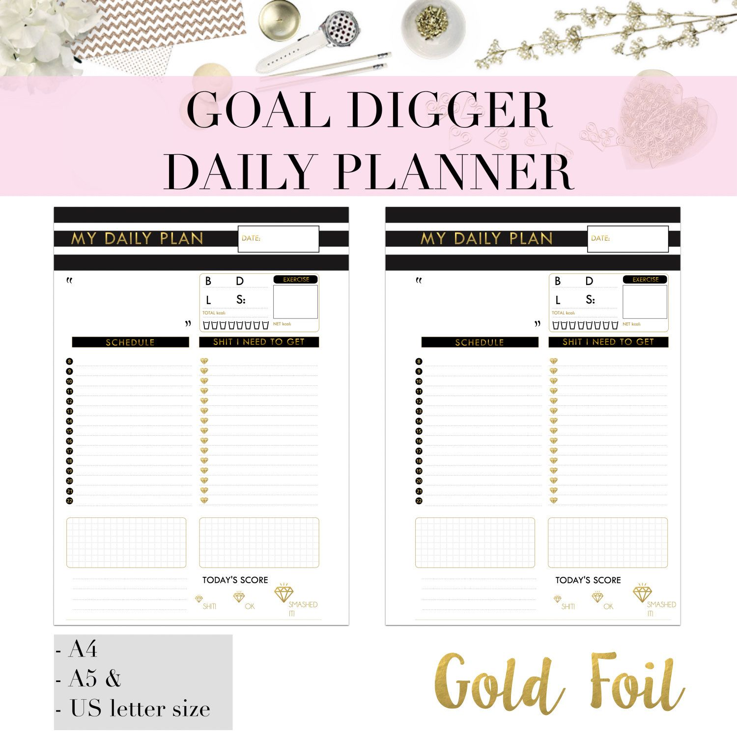 Goal Digger Gold Foil Printable Daily Planner Page  Day Organiser