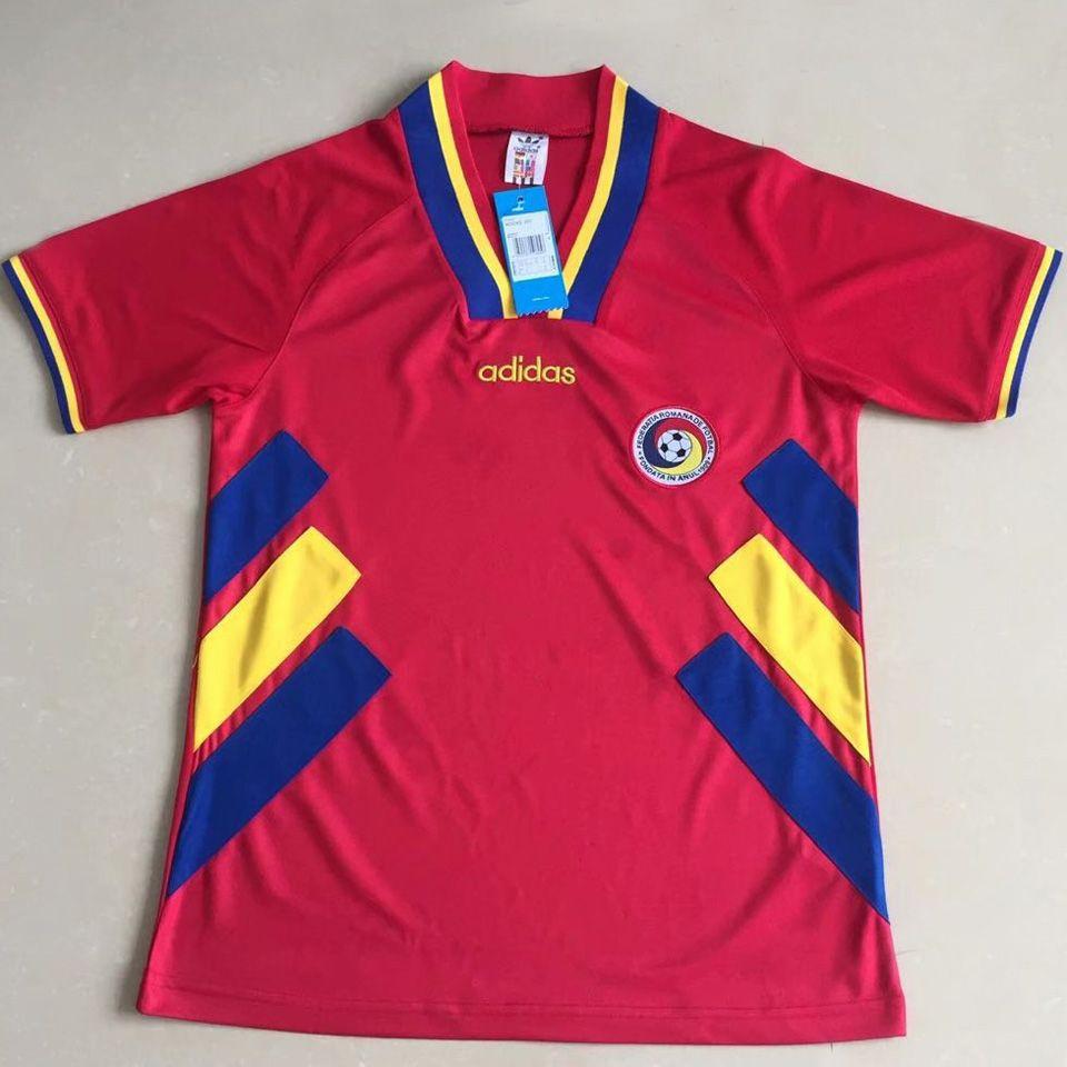 1994 Romania Red Retro Soccer Jersey In 2020 Retro Football Shirts Soccer Jersey Retro Shirts