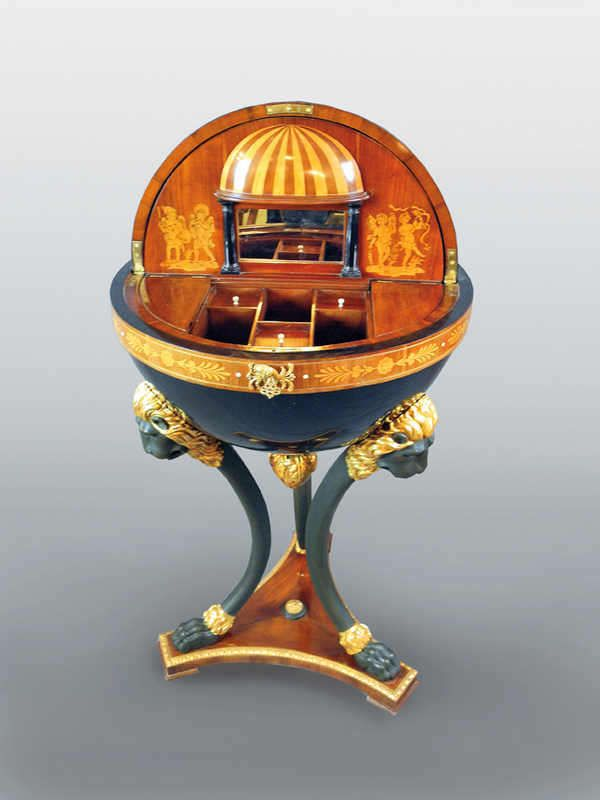 globe table with 3 feet shaped like lions heads and lions paws intarsia and bronze applications. Black Bedroom Furniture Sets. Home Design Ideas