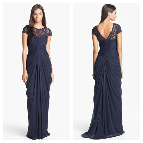 Adrianna Papell - Lace Yoke Drape Gown