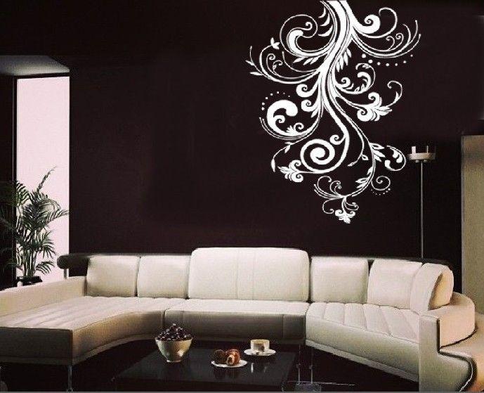 White flower vine living room wall sticker decal living - Wall sticker ideas for living room ...