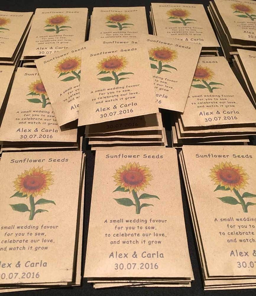 10 X Sunflower Seed Wedding Favours With Poem Fully Personalised