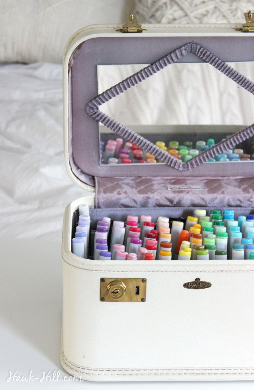using a vintage train case for art supply marker storage | craft