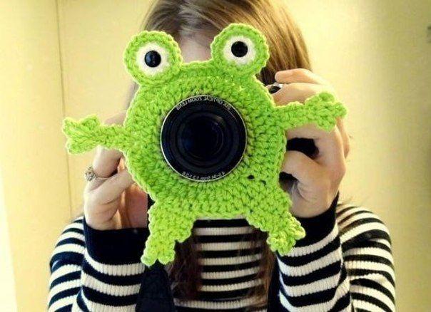 Вязаные игрушки-насадки на фотоаппарат