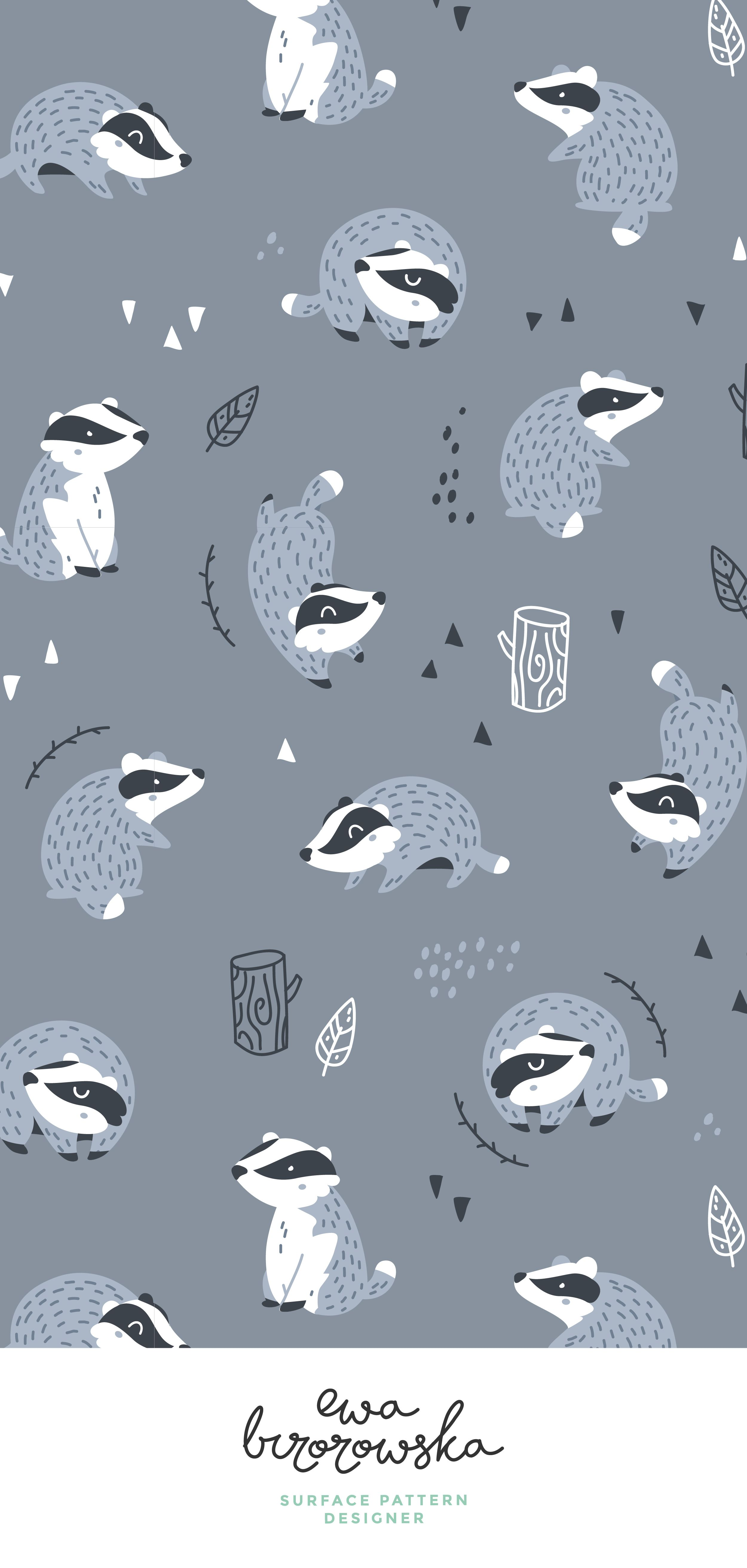 Woodland badgers textile pattern design -dark blue. Scandinavian style, children pattern design, children illustration, badger illustration, woodland fabric, pattern design, textile design, surface pattern design, forest, wood, dark blue, scandinavian illustration, nursery. #surfacepatterndesign