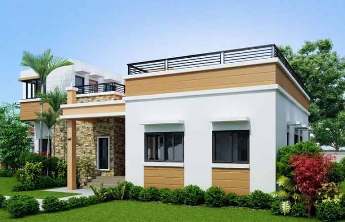 Free House Design And Free Floor Plan 1 Total Lot Area 136 Sqm Floor Area 60 Sqm Bedr Modern Bungalow House Four Bedroom House Plans House Design Pictures