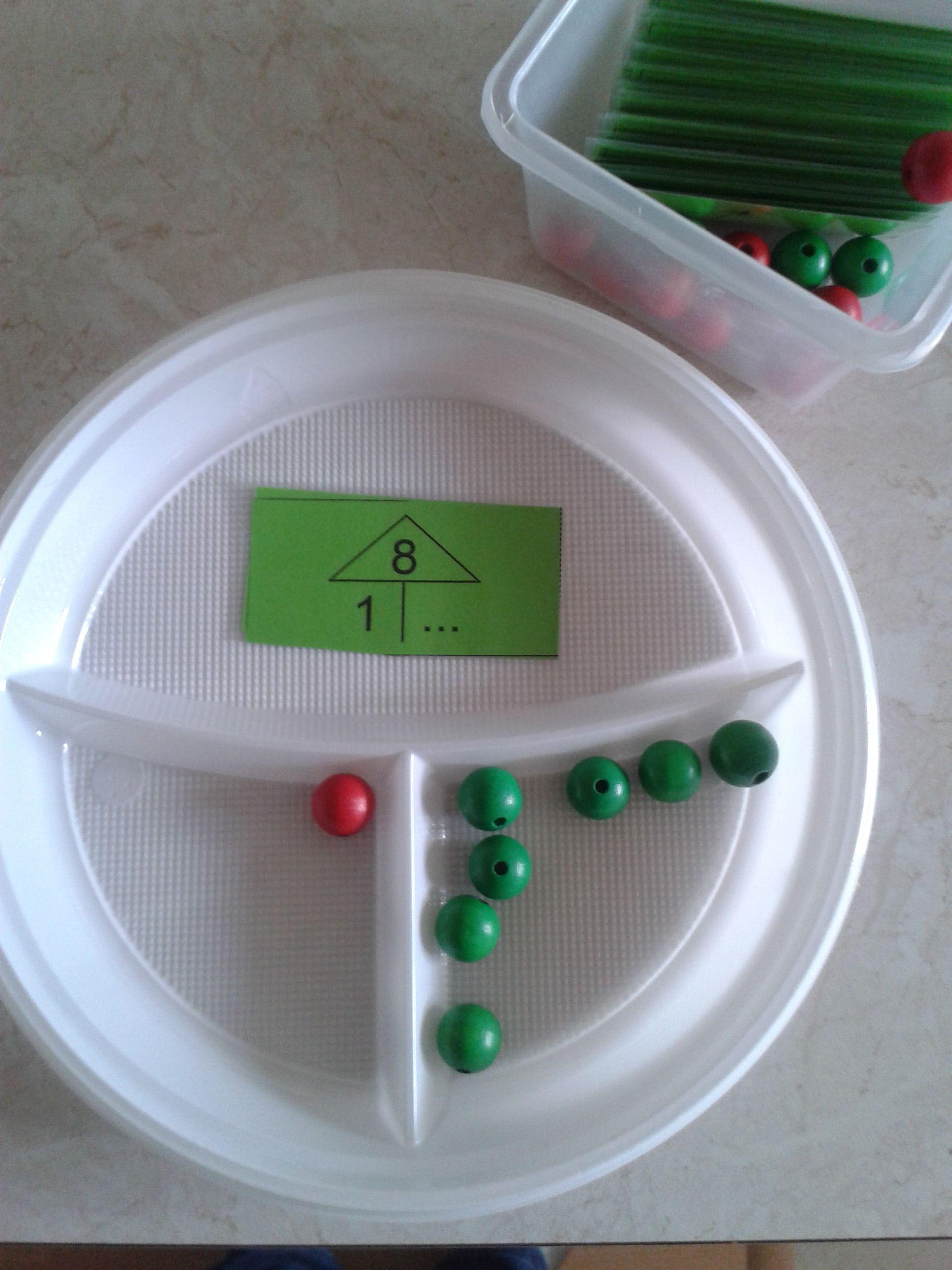 Mathe, Zahlen zerlegen, zählen, Zahlzerlegung auf Plastik Teller ...