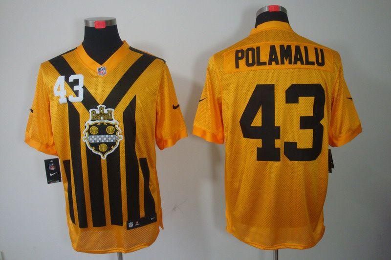 Pittsburgh Steelers #43 Polamalu Nike NFL Elite Jersey in yellow  $23ID:936811092