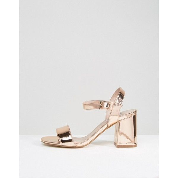 2e0ecc31cc069a Dune Mylo Rose Gold Block Heel Sandals (€80) ❤ liked on Polyvore featuring  shoes