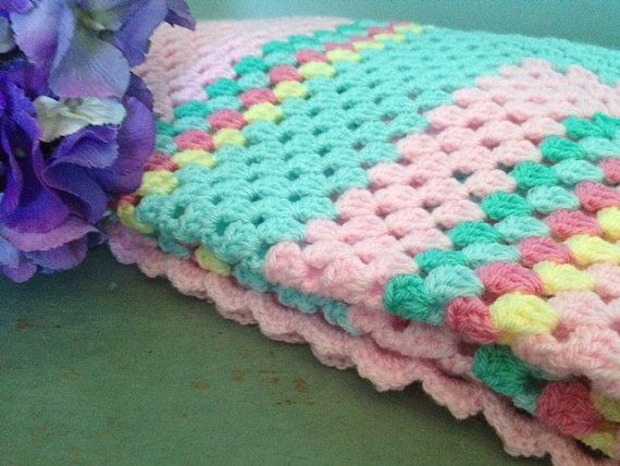Sherbert Fizz- Hand crochet blanket. Perfect as a throw or picnic blanket and ideal for your camper van on Etsy, $76.60