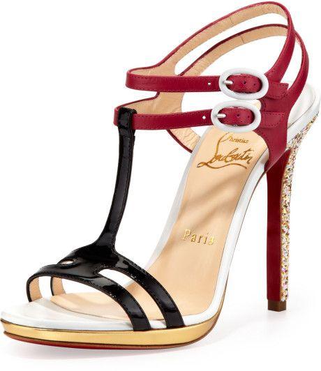 Christian Louboutin Multicolor Double Tutti T-Strap Red Sole Sandal Multicolor €699 #CL #Louboutins #Shoes