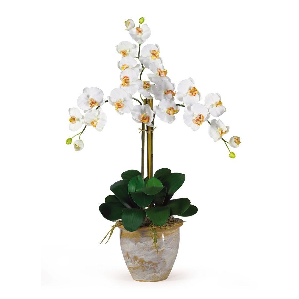Nearly Natural 27 In Triple Stem Phalaenopsis Silk Orchid Flower Arrangement 1017 Cr The Home Depot Orchid Flower Arrangements Silk Orchids Arrangements Silk Orchids