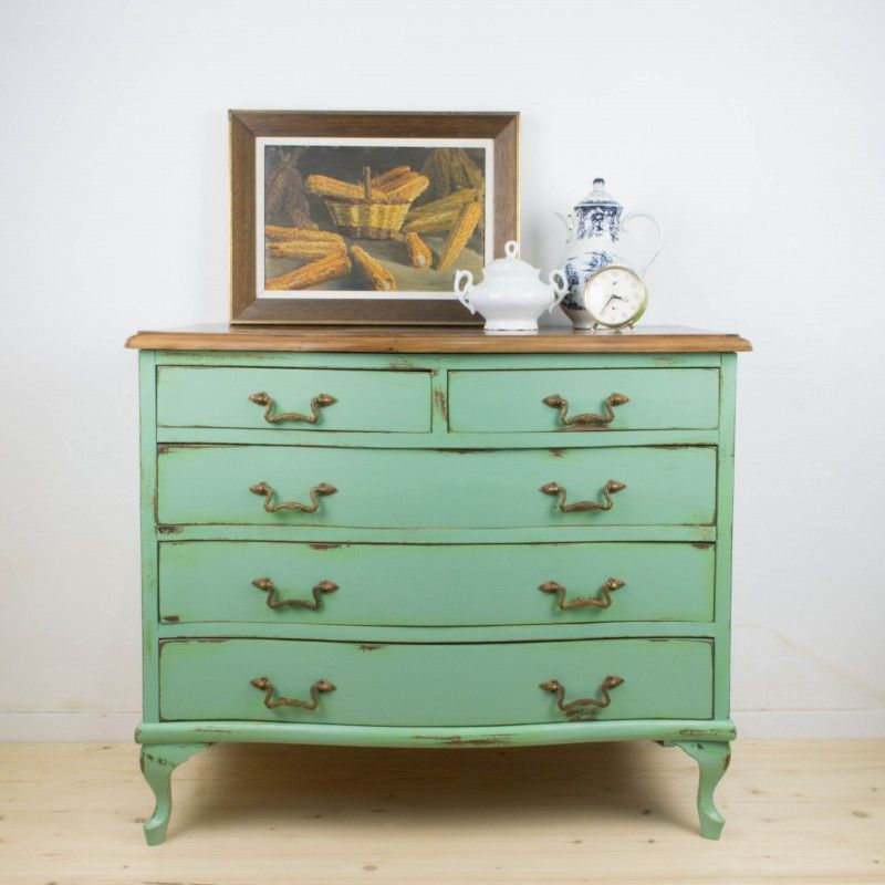 C moda de cinco cajones isabel antic chic antic chic - Muebles restaurados vintage ...
