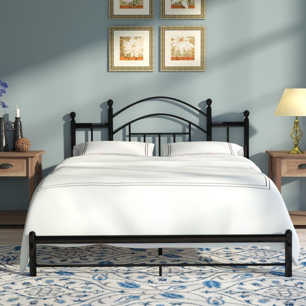 Metal Platform Bed Twin Size Steel Frame Footboard