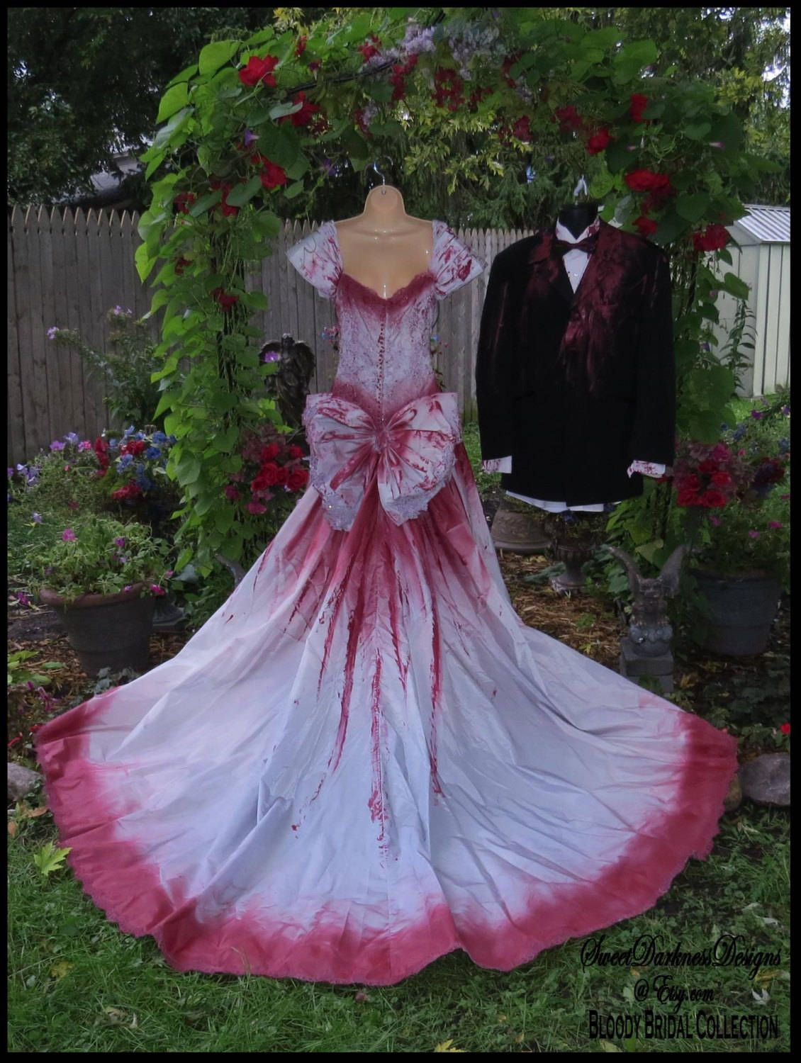 Bloody Bridal Gown Tim Burton Wedding Dress Bloody Vampire Costume