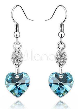 12f38709553b Corazón dulce en forma de aretes de cristal de Swarovski para las ...
