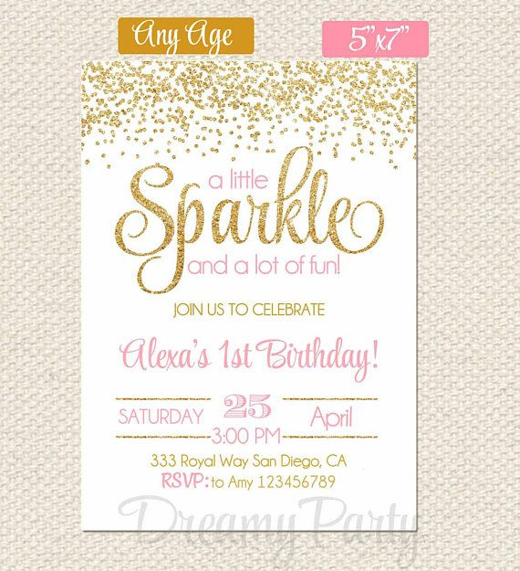 Pink And Gold First Birthday Invitation Sparkle Invitation Etsy First Birthday Invitations Birthday Invitations Gold First Birthday