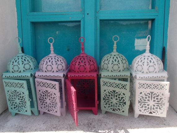 HANDPAINTED MOROCCAN LANTERN, candle holder, for indoor , outdoor, alfresco dining, weddings, patio on Etsy, 20,80€